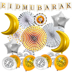 White Eid Letter Bunting, Silver & Gold Fans, Gold Foil Moon & Silver Star Balloons + Gold Geo Balloons Decoration SET 16