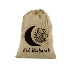 Medium Eid Mubarak Moon & Arabic Gift Sack (60x40cm)