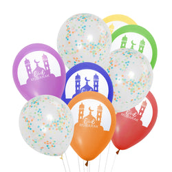 Multicolour Mosque Eid Mubarak Balloons & Multicolour Confetti Balloons Bunch
