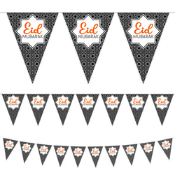 Black Geometric Pattern Eid Mubarak Plastic Triangle Bunting - 10 meters