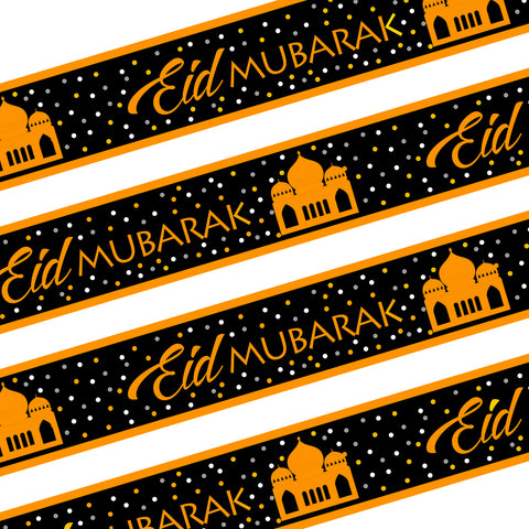 Black & Gold Eid Mubarak Ramadan Foil Banner Decoration - 3m