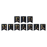 Black & White Eid Mubarak Balloons, Black/Gold Paper, Bunting & Felt Symbols Decoration Set