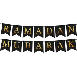 Ramadan Mubarak Black Dovetail Embossed Gold Letter Card Bunting - 2 meters