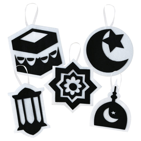 Pack of 5 Black & White Felt Arabic Symbol Ramadan & Eid Hanging Decorations