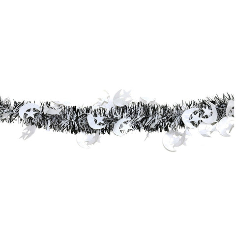 Black & White Eid Crescent Moon & Star Tinsel - 2 meters