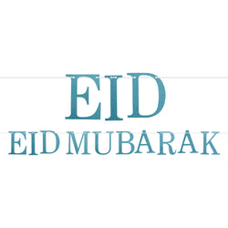 Blue Glitter Letter Eid Mubarak Hanging Bunting Decoration - 2 meters