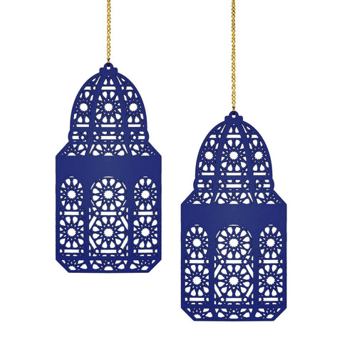 Set of 2 Blue Geometric Pattern Wooden Ramadan / Eid Lantern Hanging Decorations