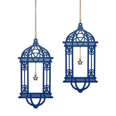 Set of 2 Blue Wooden Ramadan / Eid Long Lantern Hanging Decorations