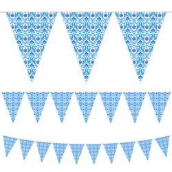 Blue Ottoman Pattern Triangle Plastic Bunting - 10 meters