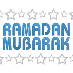 Blue Glitter Ramadan Mubarak Letters & Silver Star 2-Piece Bunting Decoration Set