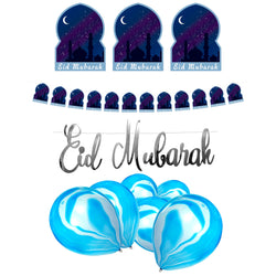 Blue Night Eid Mubarak Bunting, Silver Calligraphy Bunting & Blue Marble Balloons