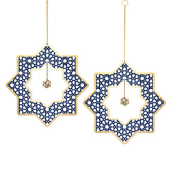 Set of 2 Wooden Ramadan & Eid Ornate Hanging Star Decorations - Blue / Gold Outline