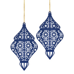 Set of 2 Blue Wooden Ramadan / Eid Lantern Hanging Decorations