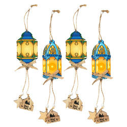 Set of 4 Blue & Yellow Wooden Ramadan Lantern Hanging Decorations