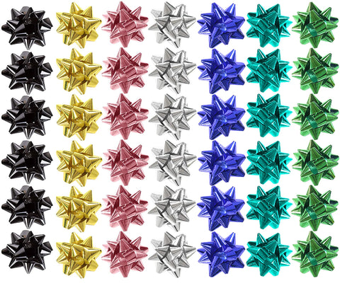 48 x Gift Bows Mini Foil Multicoloured Self Adhesive Present Gift Wrapping - 4cm