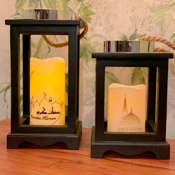 Set of 2 Wooden Artificial Ramadan Kareem Candle Decoration - Medium & Large