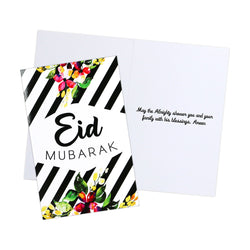 Pack of 6 Black & White Stripe & Floral Eid Mubarak Cards
