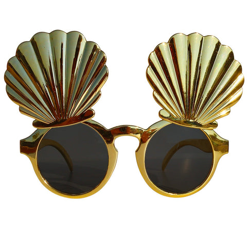 Gold Clam Shell Novelty Fancy Dress Glasses