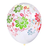 Multicolour Floral Pattern Clear Latex Balloons (12 Pack)