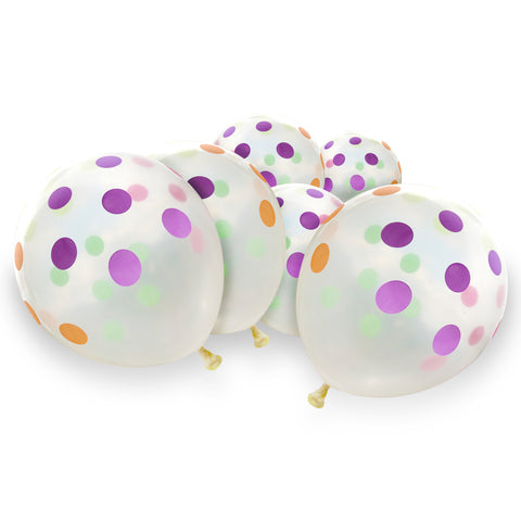 Clear Latex Eid Balloons with Multicolour Large Polka Dot Pattern (12 Pack)
