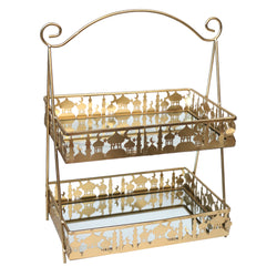 Gold 2-Tier Rectangle Mirrored Cookie & Cake Metal Stand