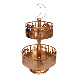 2-Tier Copper Metal Eid / Ramadan Mosque Cake Stand