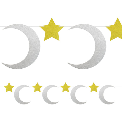 Gold & Silver Glitter Crescent Moon & Star Bunting - 2 meters