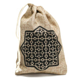 Pack of 6 Islamic Star Mini Hessian Pull String Gift Pouches
