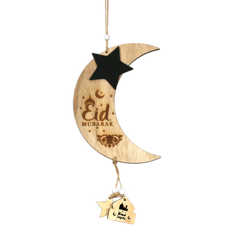 Single Eid Mubarak Wooden Crescent Moon & Chalkboard Star Hanging Decoration