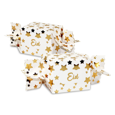 White & Metallic Gold Eid Star Cracker Gift Favour Boxes