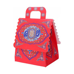 Pack of 6 Red Ornate Pattern Celebration Gift Favour Boxes