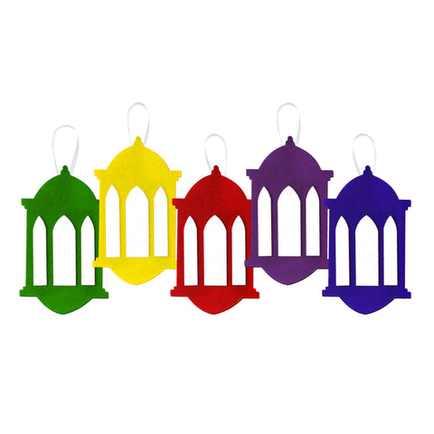 Pack of 5 Multicolour Felt Lantern Ramadan & Eid Hanging Decorations