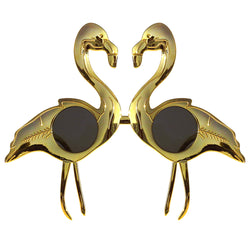 Gold Flamingo Novelty Fancy Dress Glasses