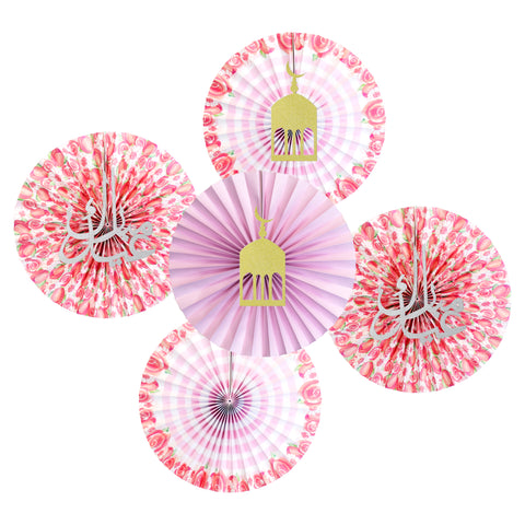 Set of 5 Pink Floral Eid & Ramadan Hanging Concertina Fan Decorations