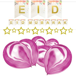 Floral Eid Mubarak Bunting, Gold Glitter Star Bunting & 10 Purple Marble Effect Balloons Set