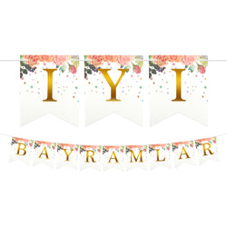 Turkish İyi Bayramlar Floral Dovetail Gold Letter Card Bunting - 2 meters
