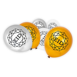 Gold, Silver & Clear Geometric Eid Pattern Balloons (15 Pack)