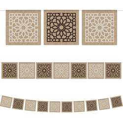 Islamic Geometric Pattern Square Hessian Bunting - 2 meters