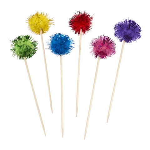 Pack of 100 Fluffy Tinsel Glitter Ball Pom Pom Cocktail Sticks