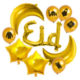 Gold Foil Eid, Crescent Moons, Stars & Islamic Symbol Balloon Set