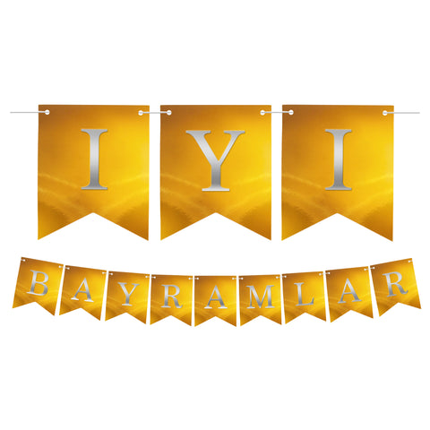 Turkish İyi Bayramlar Gold Dovetail Gold Letter Card Bunting - 2 meters