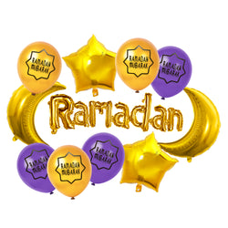 Gold Foil Ramadan, Crescent Moons, Stars & Gold / White Balloon Set
