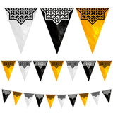Black, Gold & Silver Islamic Star Eid Balloons & Bunting & Gold Wooden Stars Ramadan Decoration Set