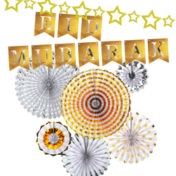 Gold & Silver Paper Concertina Fans and Gold Eid Mubarak Metallic Bunting & Gold Star Bunting Set