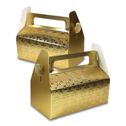 Gold Metallic Rectangle Diamond Pattern Eid & Ramadan Gift Favour Boxes
