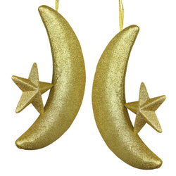 Large Gold Glitter Foam Crescent Moon & Star Eid & Ramadan Hanging Decorations