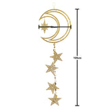 Large Gold Glitter Crescent Moon & Stars Hanging Decoration