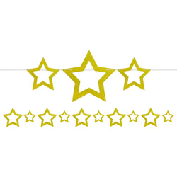 Gold Glitter Cutout Stars Bunting - 2 meters
