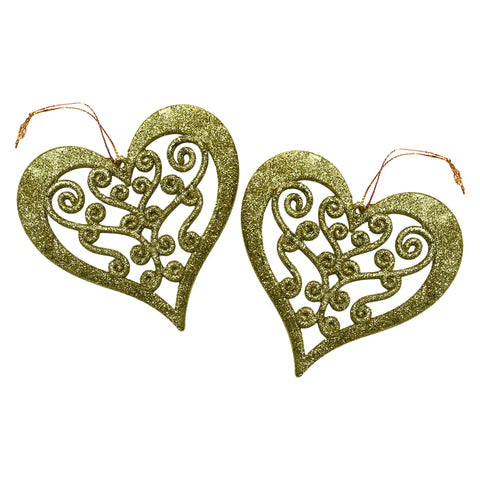 Pack of 2 Gold Glitter Hanging Hearts Eid & Ramadan Decoration
