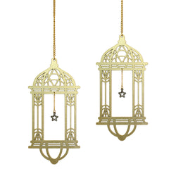 Set of 2 Gold Wooden Ramadan / Eid Lantern Hanging Decorations